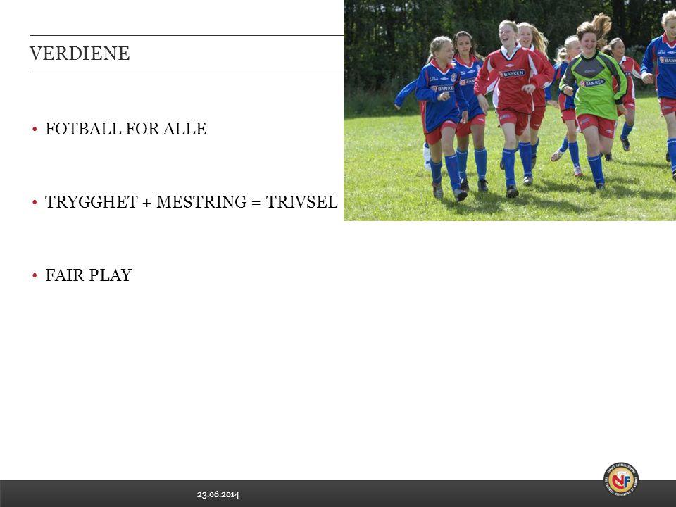 23.06.2014 VERDIENE • FOTBALL FOR ALLE • TRYGGHET + MESTRING = TRIVSEL • FAIR PLAY