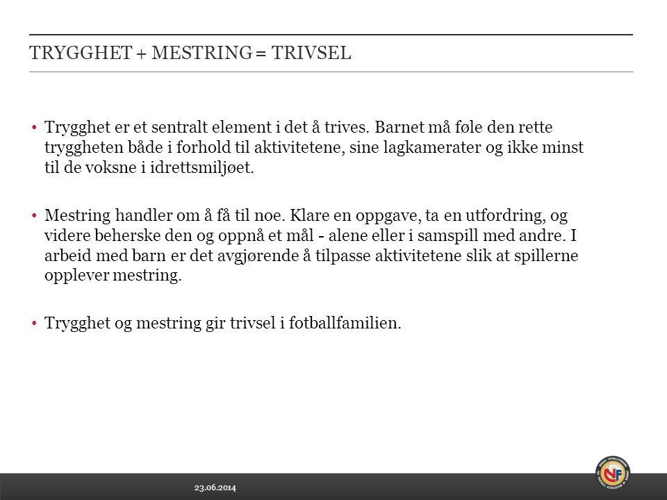 23.06.2014 TRYGGHET + MESTRING = TRIVSEL • Trygghet er et sentralt element i det å trives.