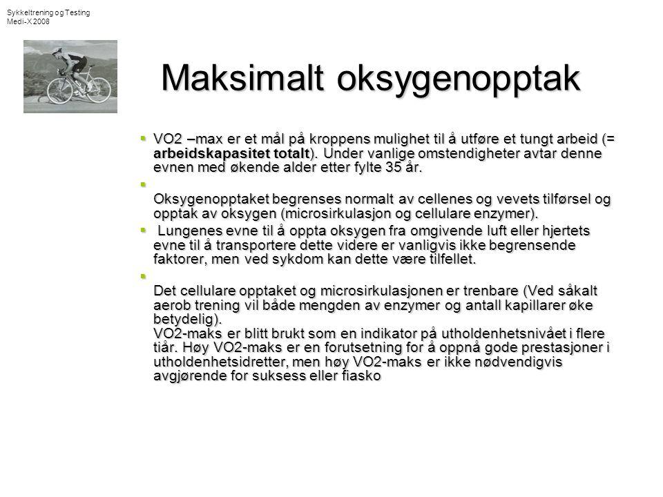 Oksygenopptak •Måles i ml O 2 per minutt per kg kroppsvekt (ml/kg/min) eller •Liter per minutt (L/min) •Uttrykker kroppens evne til å ta opp O 2 gjennom lungene, transport med blodet til vevet og oksydasjon inne i cellene.