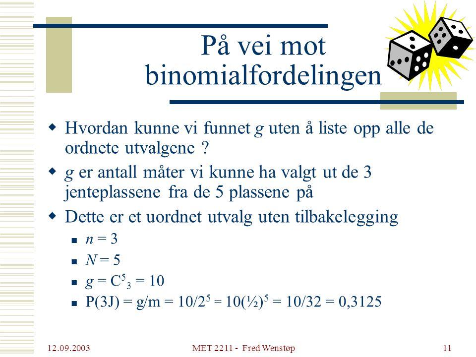12.09.2003 MET 2211 - Fred Wenstøp11 På vei mot binomialfordelingen  Hvordan kunne vi funnet g uten å liste opp alle de ordnete utvalgene ?  g er an