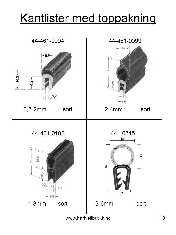 www.hartveitbutikk.no10 Kantlister med toppakning 0,5-2mm sort 44-461-0094 44-461-0099 2-4mm sort 44-461-0102 44-10515 1-3mm sort 3-6mm sort