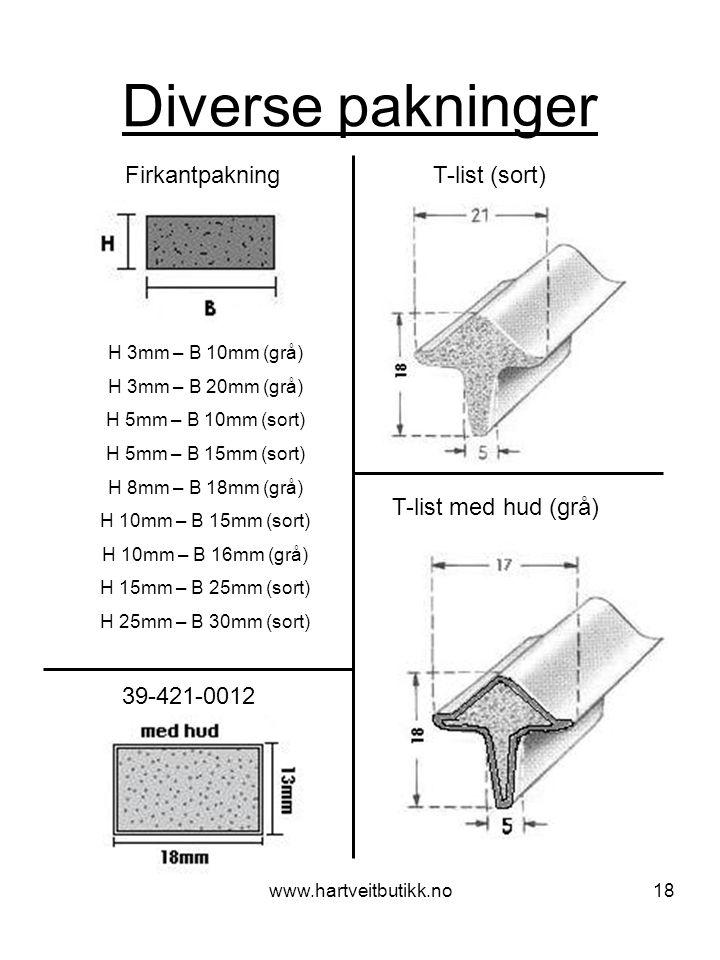 www.hartveitbutikk.no18 Diverse pakninger Firkantpakning T-list (sort) H 3mm – B 10mm (grå) H 3mm – B 20mm (grå) H 5mm – B 10mm (sort) H 5mm – B 15mm (sort) H 8mm – B 18mm (grå) H 10mm – B 15mm (sort) H 10mm – B 16mm (grå) H 15mm – B 25mm (sort) H 25mm – B 30mm (sort) 39-421-0012 T-list med hud (grå)