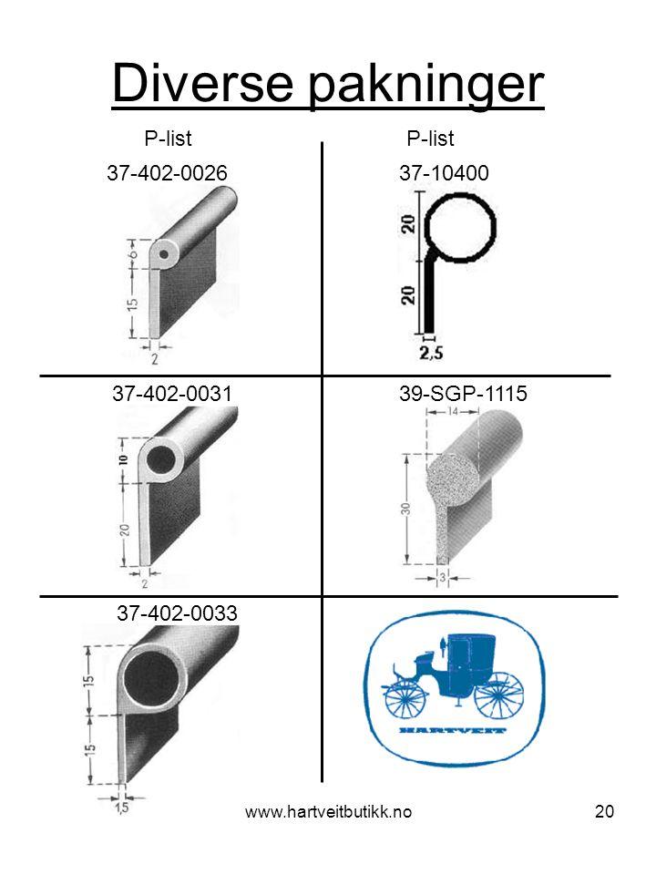 www.hartveitbutikk.no20 Diverse pakninger P-list 37-402-0031 39-SGP-1115 37-402-0033 37-402-0026 37-10400