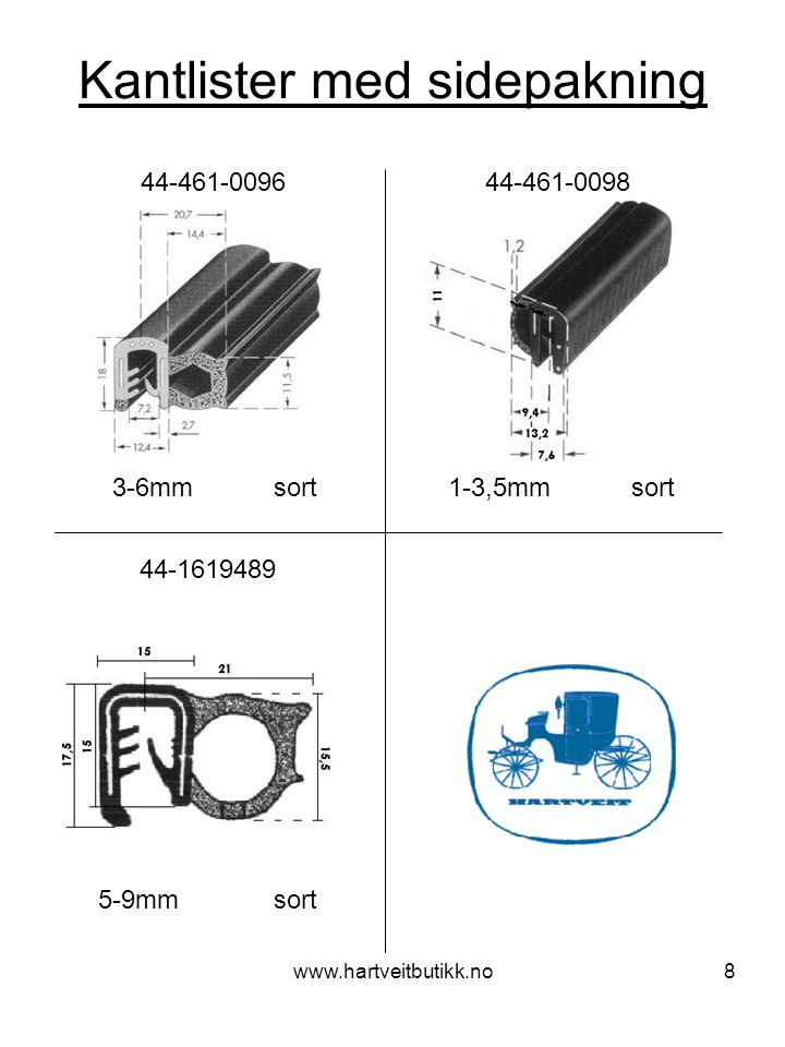 www.hartveitbutikk.no8 Kantlister med sidepakning 3-6mm sort 44-461-0096 44-461-0098 1-3,5mm sort 44-1619489 5-9mm sort