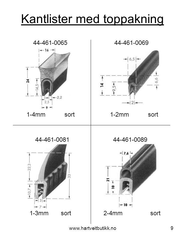 www.hartveitbutikk.no9 Kantlister med toppakning 1-4mm sort 44-461-0065 44-461-0069 1-2mm sort 44-461-0081 44-461-0089 1-3mm sort 2-4mm sort