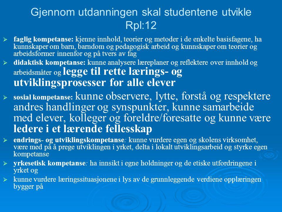 Gjennom utdanningen skal studentene utvikle Rpl:12   faglig kompetanse: kjenne innhold, teorier og metoder i de enkelte basisfagene, ha kunnskaper o