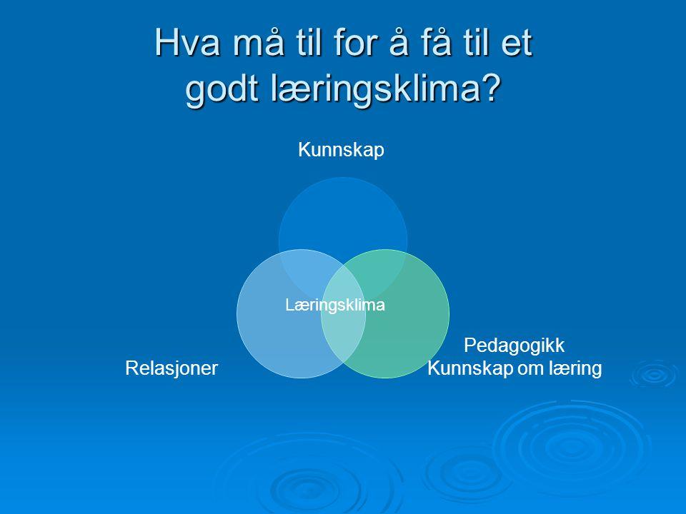 Hva må til for å få til et godt læringsklima? Kunnskap Pedagogikk Kunnskap om læring Relasjoner Læringsklima
