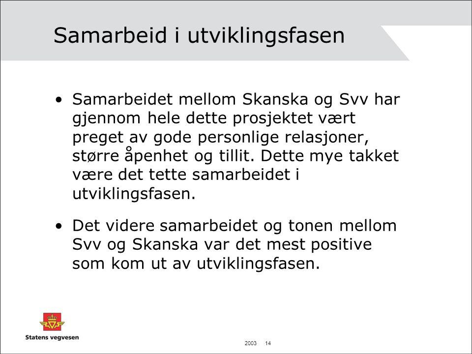 2003 14 Samarbeid i utviklingsfasen •Samarbeidet mellom Skanska og Svv har gjennom hele dette prosjektet vært preget av gode personlige relasjoner, større åpenhet og tillit.