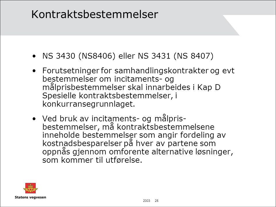 2003 25 Kontraktsbestemmelser •NS 3430 (NS8406) eller NS 3431 (NS 8407) •Forutsetninger for samhandlingskontrakter og evt bestemmelser om incitaments- og målprisbestemmelser skal innarbeides i Kap D Spesielle kontraktsbestemmelser, i konkurransegrunnlaget.