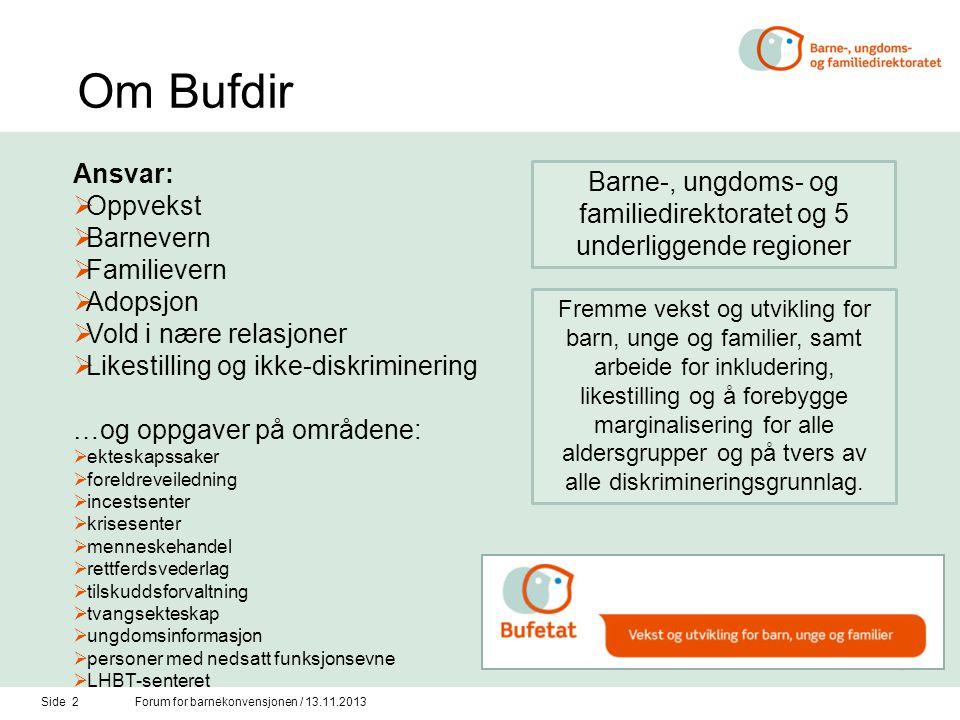 Om Bufdir Side 2Forum for barnekonvensjonen / 13.11.2013 Ansvar:  Oppvekst  Barnevern  Familievern  Adopsjon  Vold i nære relasjoner  Likestilli