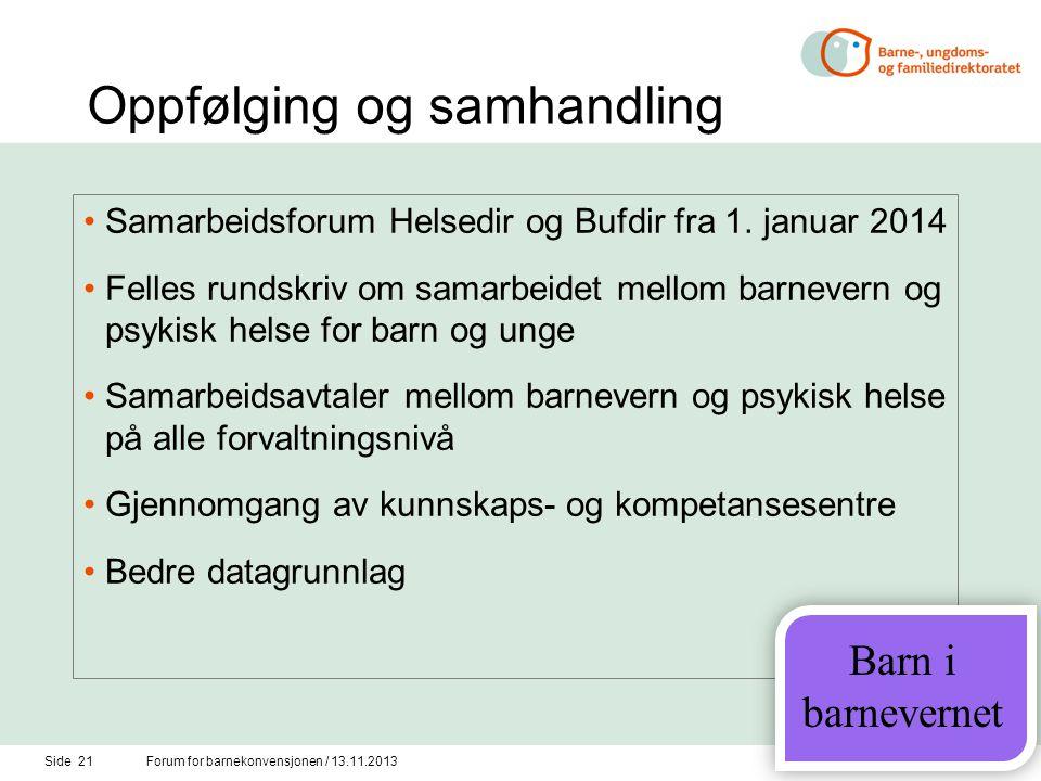 Oppfølging og samhandling •Samarbeidsforum Helsedir og Bufdir fra 1. januar 2014 •Felles rundskriv om samarbeidet mellom barnevern og psykisk helse fo