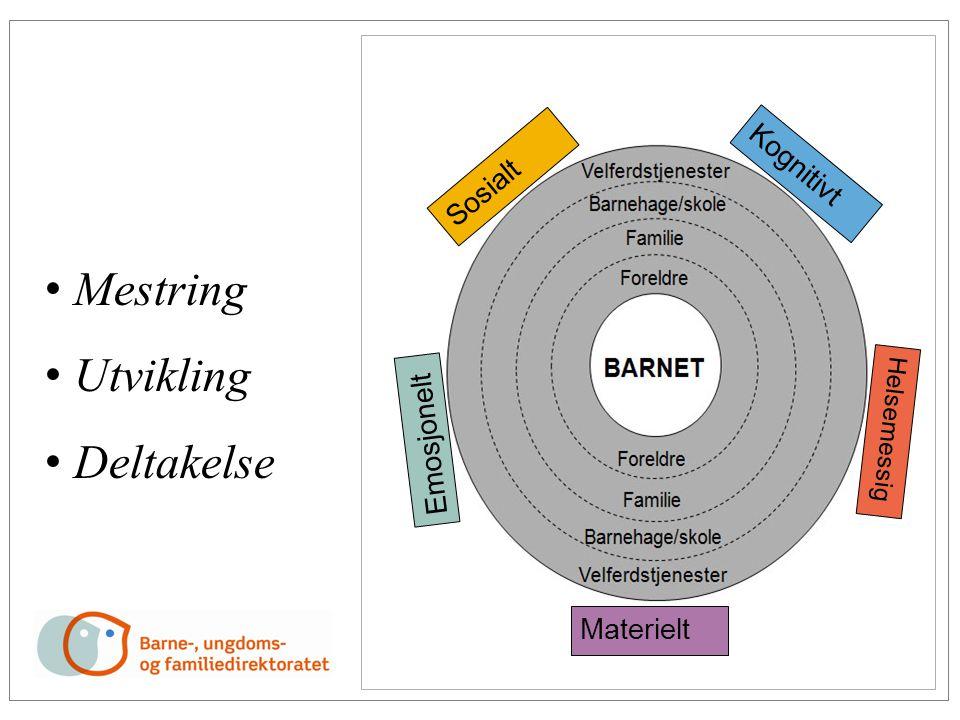 • Mestring • Utvikling • Deltakelse Emosjonelt Kognitivt Materielt Sosialt Helsemessig