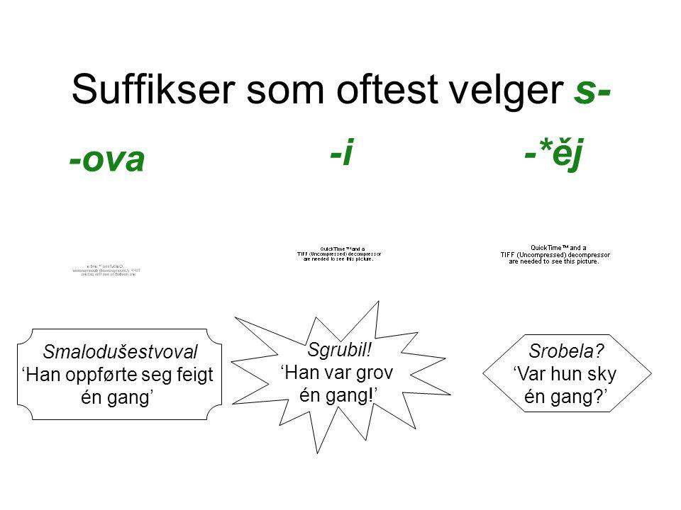 Suffikser som oftest velger s- -ova Smalodušestvoval 'Han oppførte seg feigt én gang' -i Sgrubil.
