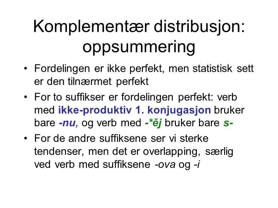 Komplementær distribusjon: oppsummering •Fordelingen er ikke perfekt, men statistisk sett er den tilnærmet perfekt •For to suffikser er fordelingen perfekt: verb med ikke-produktiv 1.