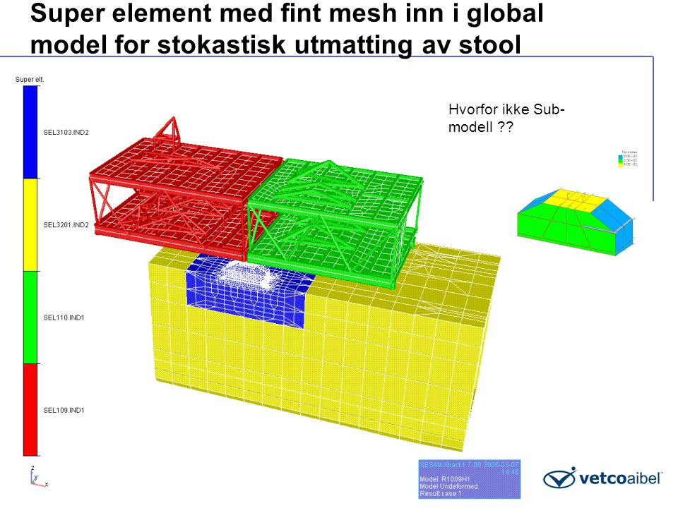 Super element med fint mesh inn i global model for stokastisk utmatting av stool Hvorfor ikke Sub- modell ??