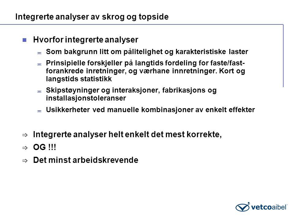 Integrerte analyser av skrog og topside  Hvorfor integrerte analyser  Som bakgrunn litt om pålitelighet og karakteristiske laster  Prinsipielle for