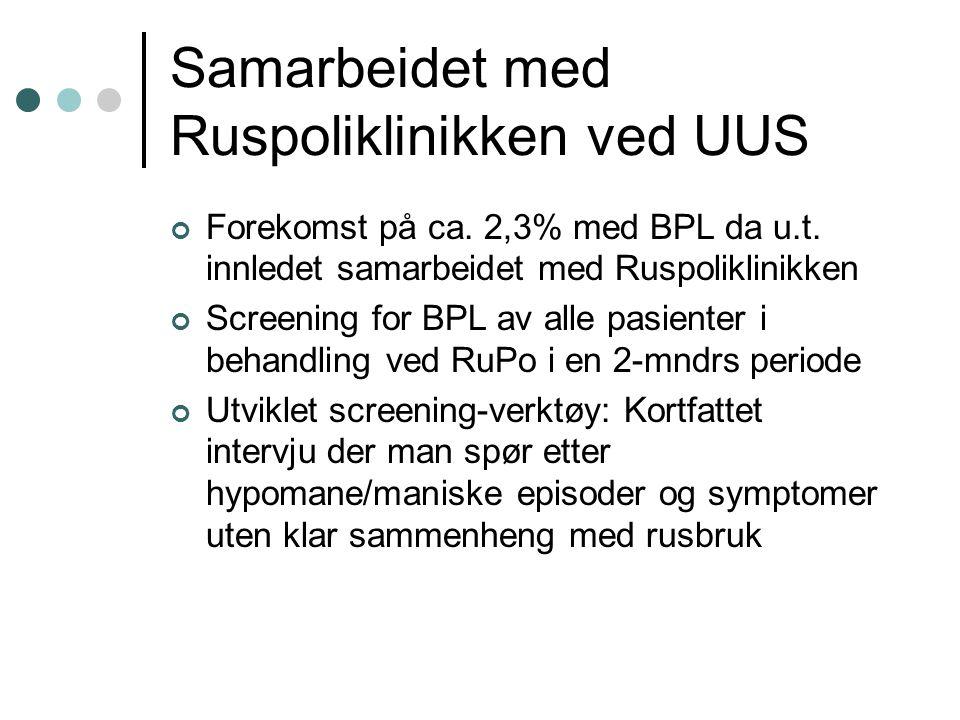 Samarbeidet med Ruspoliklinikken ved UUS Forekomst på ca. 2,3% med BPL da u.t. innledet samarbeidet med Ruspoliklinikken Screening for BPL av alle pas