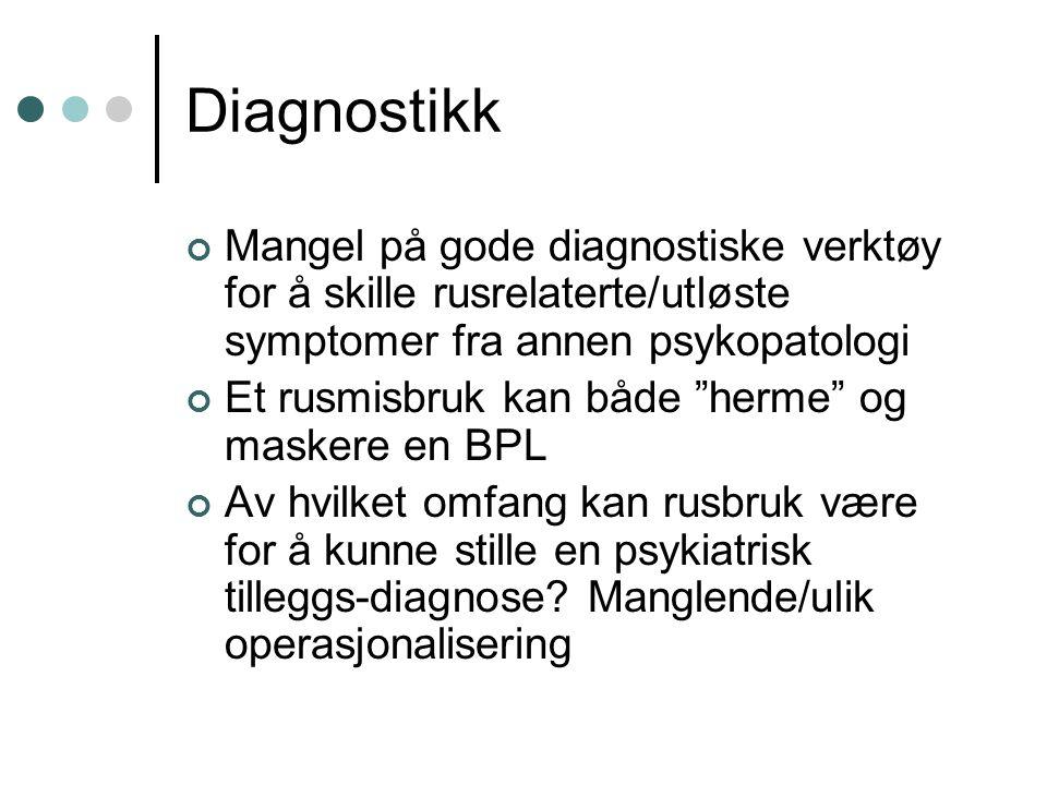 """Diagnostikk Mangel på gode diagnostiske verktøy for å skille rusrelaterte/utløste symptomer fra annen psykopatologi Et rusmisbruk kan både """"herme"""" og"""