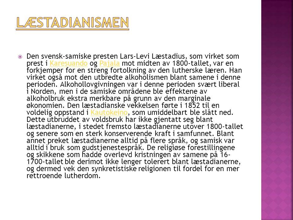  Den svensk-samiske presten Lars-Levi Læstadius, som virket som prest i Karesuando og Pajala mot midten av 1800-tallet, var en forkjemper for en streng fortolkning av den lutherske læren.