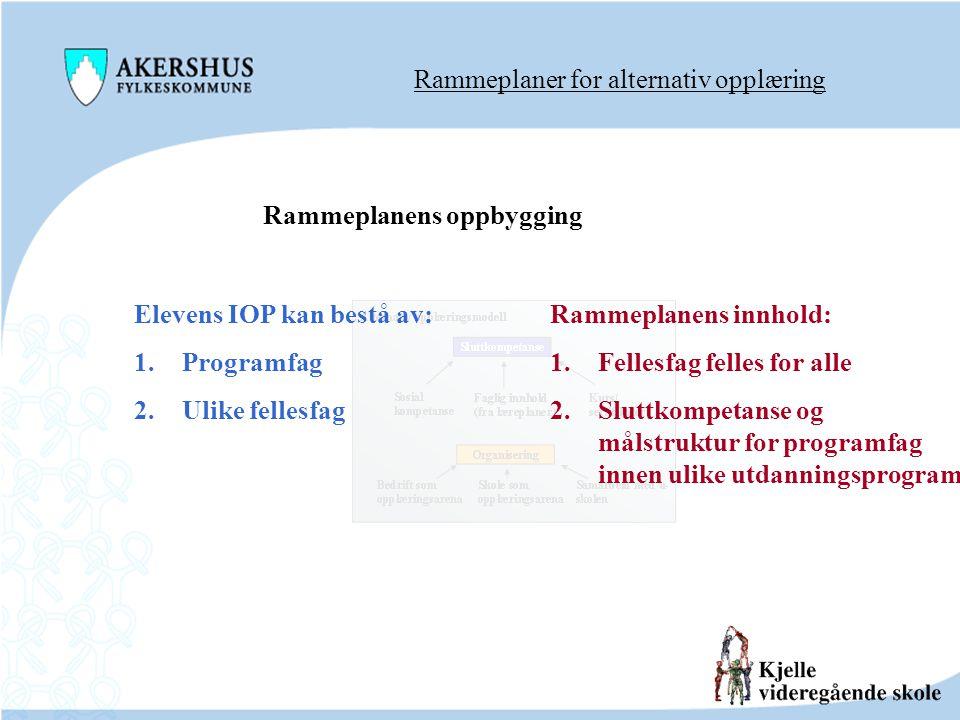 Rammeplaner for alternativ opplæring Rammeplanens oppbygging Elevens IOP kan bestå av: 1.Programfag 2.Ulike fellesfag Rammeplanens innhold: 1.Fellesfa