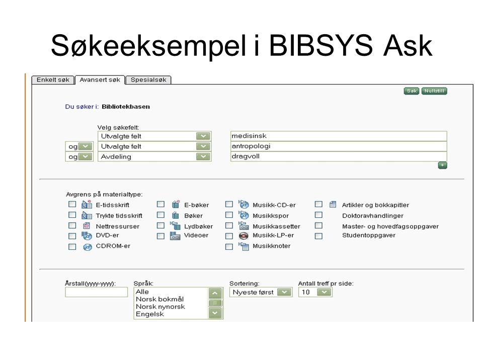 Søkeeksempel i BIBSYS Ask