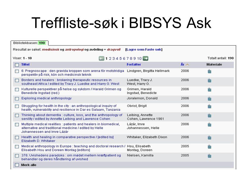 Treffliste-søk i BIBSYS Ask