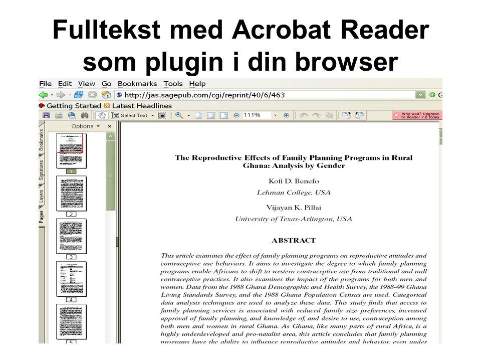 Fulltekst med Acrobat Reader som plugin i din browser