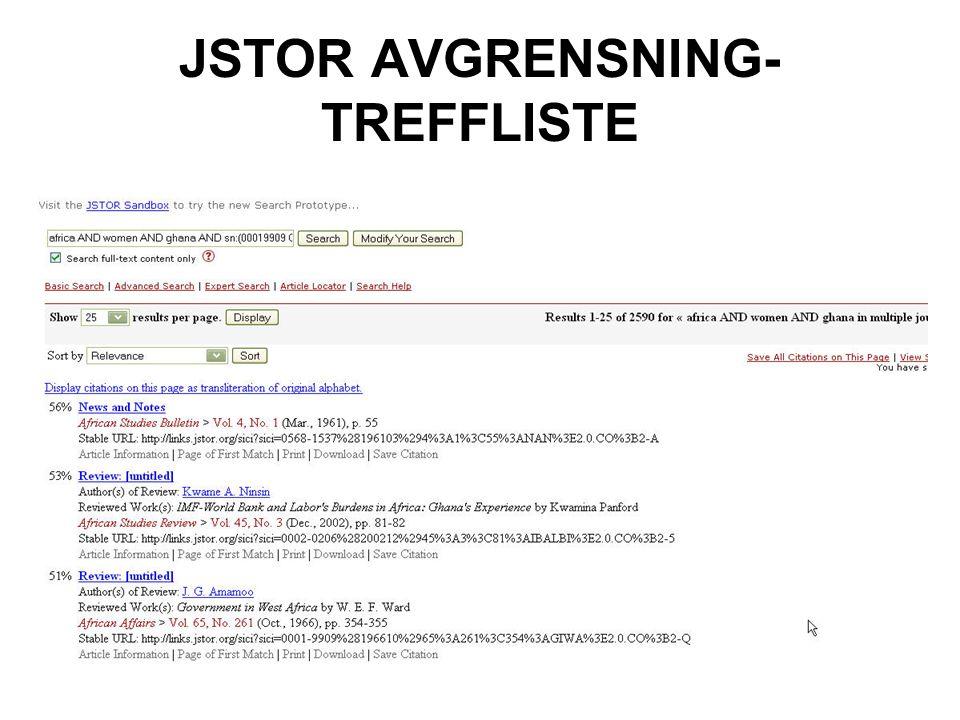 JSTOR AVGRENSNING- TREFFLISTE