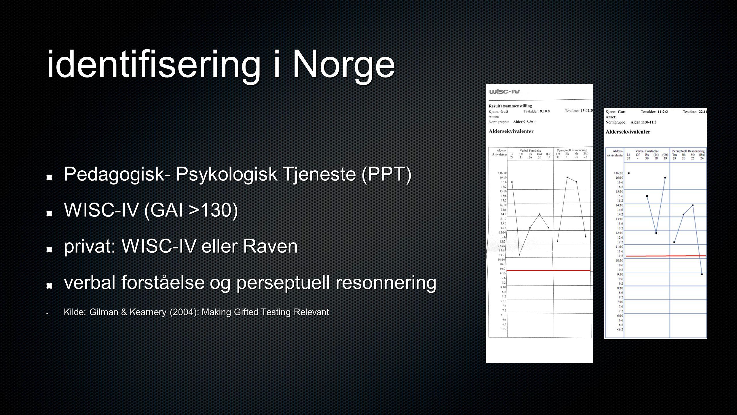 identifisering i Norge Pedagogisk- Psykologisk Tjeneste (PPT) WISC-IV (GAI >130) privat: WISC-IV eller Raven verbal forståelse og perseptuell resonnering • Kilde: Gilman & Kearnery (2004): Making Gifted Testing Relevant