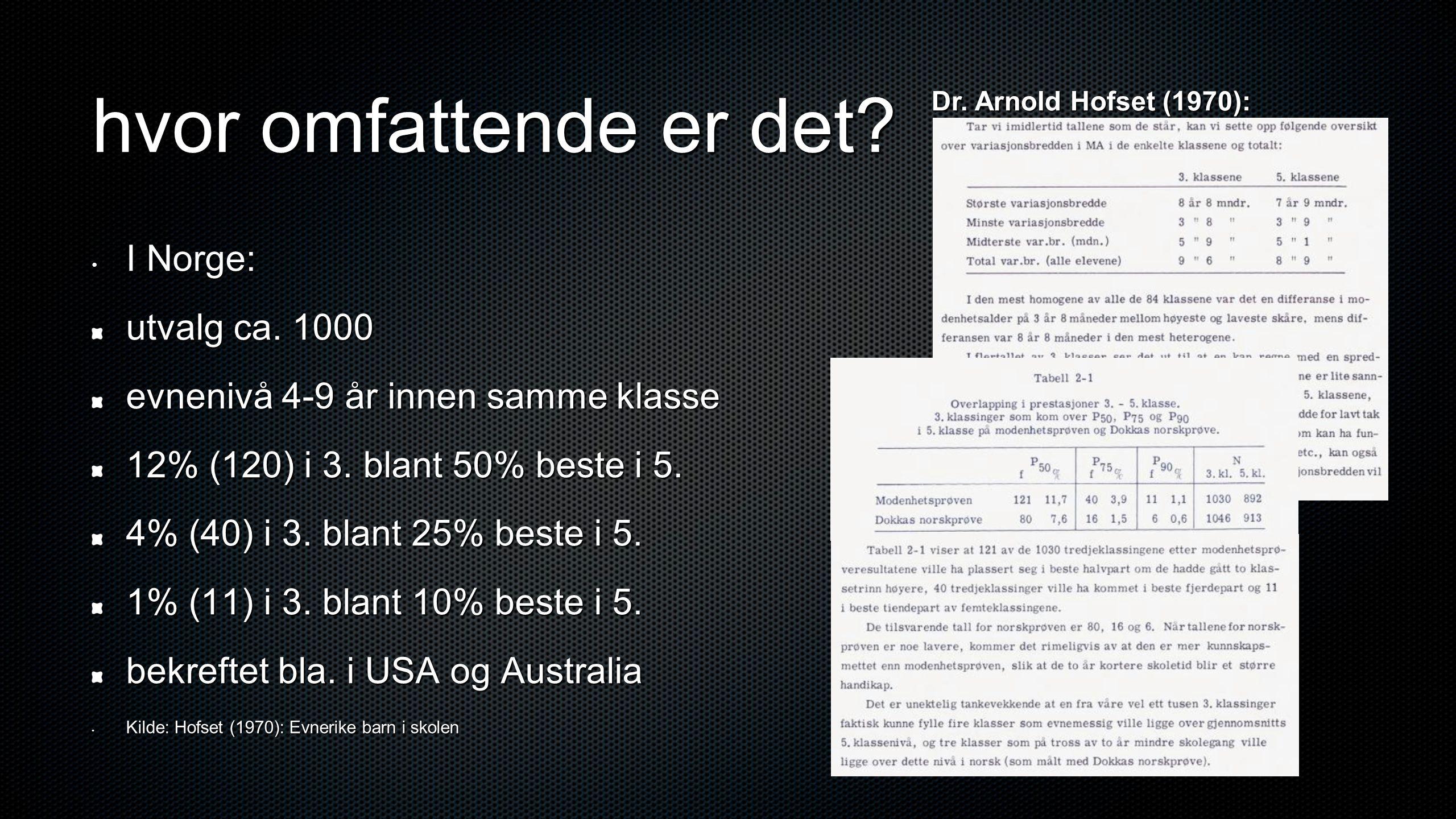 hvor omfattende er det? • I Norge: utvalg ca. 1000 evnenivå 4-9 år innen samme klasse 12% (120) i 3. blant 50% beste i 5. 4% (40) i 3. blant 25% beste