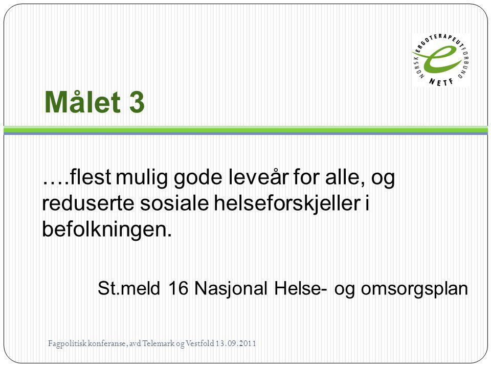 Målet 3 ….flest mulig gode leveår for alle, og reduserte sosiale helseforskjeller i befolkningen. St.meld 16 Nasjonal Helse- og omsorgsplan Fagpolitis
