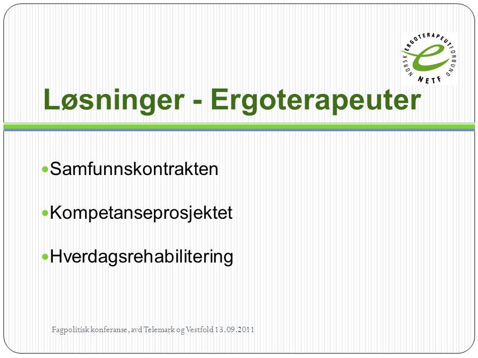 Løsninger - Ergoterapeuter  Samfunnskontrakten  Kompetanseprosjektet  Hverdagsrehabilitering Fagpolitisk konferanse, avd Telemark og Vestfold 13.09