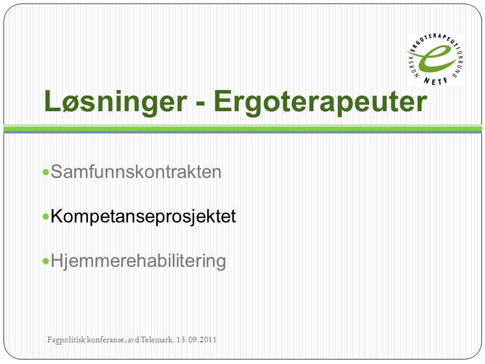 Løsninger - Ergoterapeuter  Samfunnskontrakten  Kompetanseprosjektet  Hjemmerehabilitering Fagpolitisk konferanse, avd Telemark. 13.09.2011