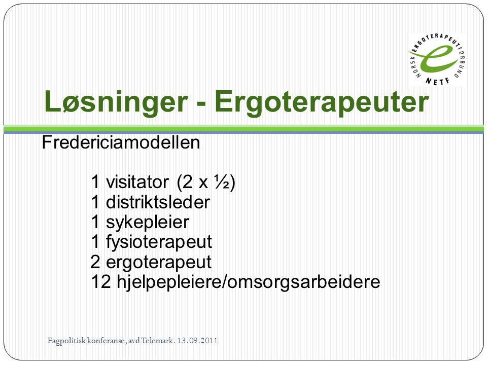 Løsninger - Ergoterapeuter Fredericiamodellen 1 visitator (2 x ½) 1 distriktsleder 1 sykepleier 1 fysioterapeut 2 ergoterapeut 12 hjelpepleiere/omsorg
