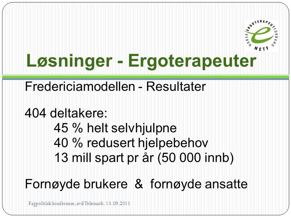 Løsninger - Ergoterapeuter Fredericiamodellen - Resultater 404 deltakere: 45 % helt selvhjulpne 40 % redusert hjelpebehov 13 mill spart pr år (50 000