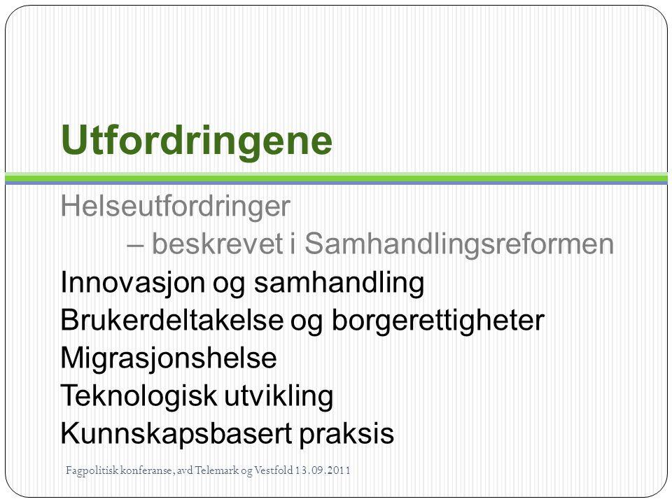 Målet 1 …sikre at den enkelte får mulighet til å leve og bo selvstendig og til å ha en aktiv og meningsfylt tilværelse i fellesskap med andre… Helse- og omsorgsloven § 1-1 Fagpolitisk konferanse, avd Telemark og Vestfold 13.09.2011