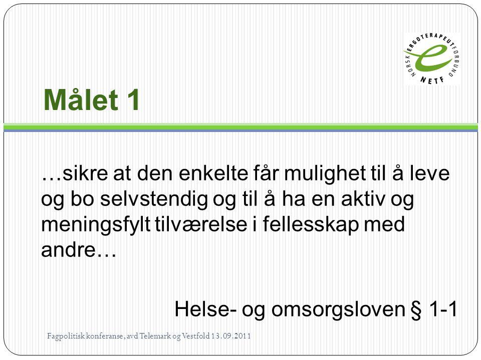 Løsninger - Ergoterapeuter Fredericiamodellen – Les mer: http://www.netf.no/NETF/Politikk-og- paavirkning/Paavirkningsarbeid/Fredericia modellen Fagpolitisk konferanse, avd Telemark.