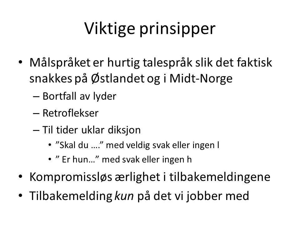 Viktige prinsipper • Målspråket er hurtig talespråk slik det faktisk snakkes på Østlandet og i Midt-Norge – Bortfall av lyder – Retroflekser – Til tid