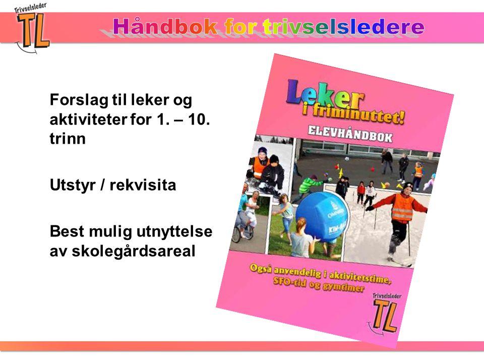 Forslag til leker og aktiviteter for 1. – 10. trinn Utstyr / rekvisita Best mulig utnyttelse av skolegårdsareal