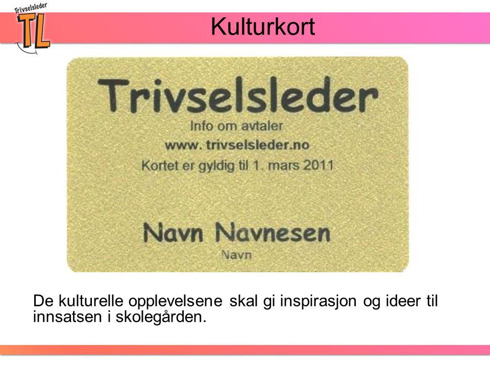 Kulturkort De kulturelle opplevelsene skal gi inspirasjon og ideer til innsatsen i skolegården.