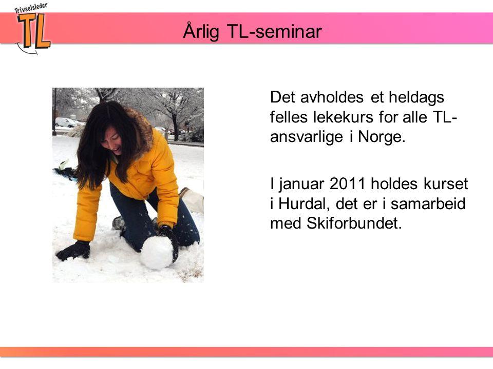 Årlig TL-seminar Det avholdes et heldags felles lekekurs for alle TL- ansvarlige i Norge. I januar 2011 holdes kurset i Hurdal, det er i samarbeid med