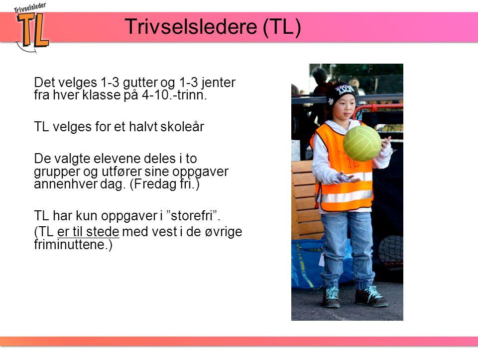 Trivselsledere (TL) Det velges 1-3 gutter og 1-3 jenter fra hver klasse på 4-10.-trinn. TL velges for et halvt skoleår De valgte elevene deles i to gr