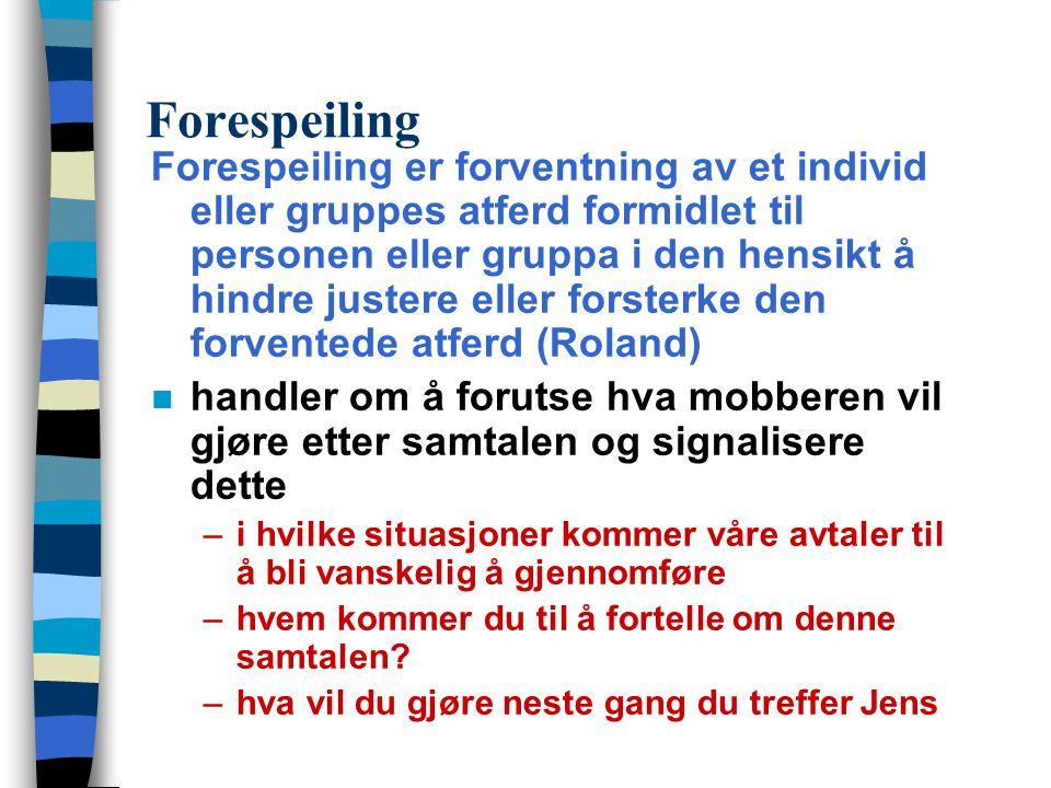 Forespeiling Forespeiling er forventning av et individ eller gruppes atferd formidlet til personen eller gruppa i den hensikt å hindre justere eller f