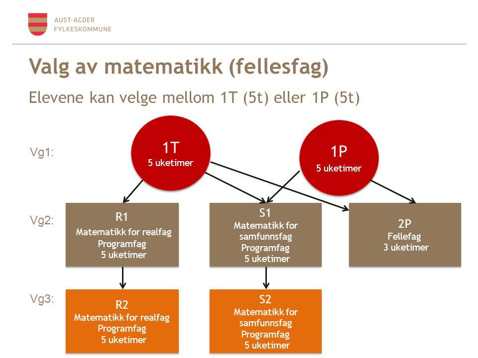 Valg av matematikk (fellesfag) Elevene kan velge mellom 1T (5t) eller 1P (5t) 1P 5 uketimer 1P 5 uketimer R1 Matematikk for realfag Programfag 5 uketimer R1 Matematikk for realfag Programfag 5 uketimer S1 Matematikk for samfunnsfag Programfag 5 uketimer S1 Matematikk for samfunnsfag Programfag 5 uketimer 2P Fellefag 3 uketimer 2P Fellefag 3 uketimer Vg1: Vg2: R2 Matematikk for realfag Programfag 5 uketimer R2 Matematikk for realfag Programfag 5 uketimer S2 Matematikk for samfunnsfag Programfag 5 uketimer S2 Matematikk for samfunnsfag Programfag 5 uketimer Vg3: 1T 5 uketimer 1T 5 uketimer