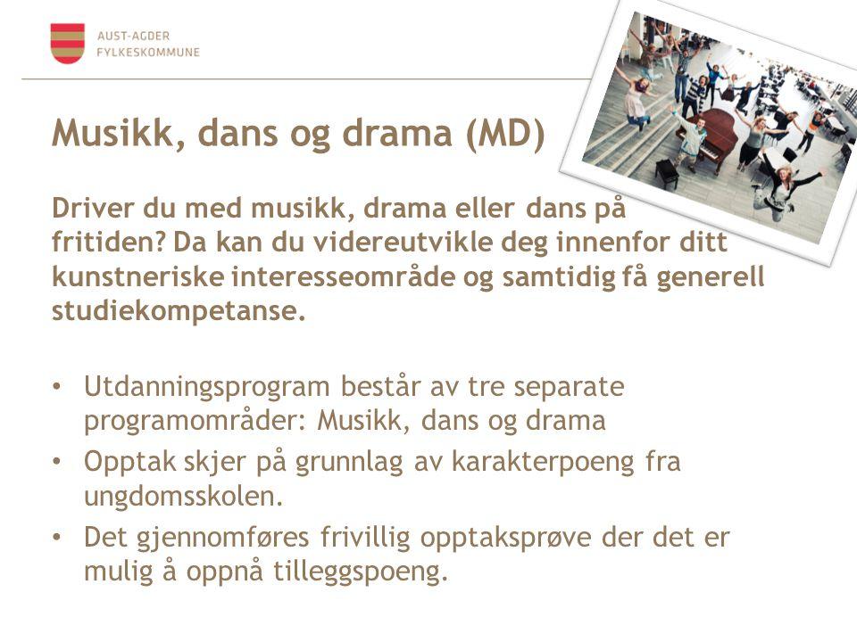 Musikk, dans og drama (MD) Driver du med musikk, drama eller dans på fritiden? Da kan du videreutvikle deg innenfor ditt kunstneriske interesseområde