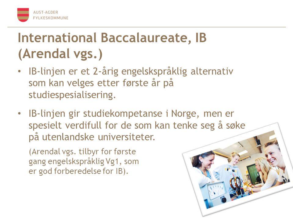 International Baccalaureate, IB (Arendal vgs.) • IB-linjen er et 2-årig engelskspråklig alternativ som kan velges etter første år på studiespesialisering.