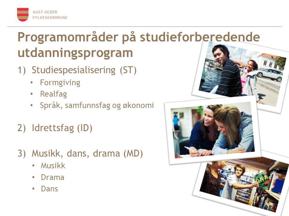 1)Studiespesialisering (ST) • Formgiving • Realfag • Språk, samfunnsfag og økonomi 2)Idrettsfag (ID) 3)Musikk, dans, drama (MD) • Musikk • Drama • Dan