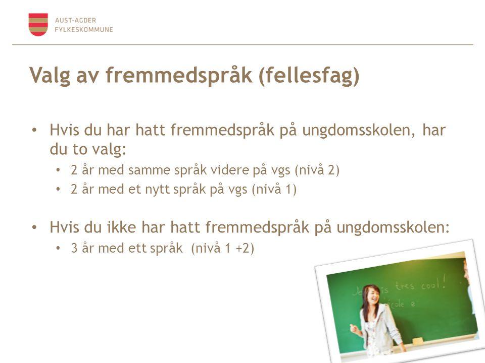 Valg av fremmedspråk (fellesfag) • Hvis du har hatt fremmedspråk på ungdomsskolen, har du to valg: • 2 år med samme språk videre på vgs (nivå 2) • 2 å