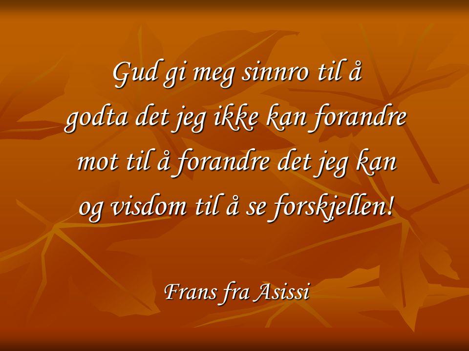 Gud gi meg sinnro til å godta det jeg ikke kan forandre mot til å forandre det jeg kan og visdom til å se forskjellen! Frans fra Asissi