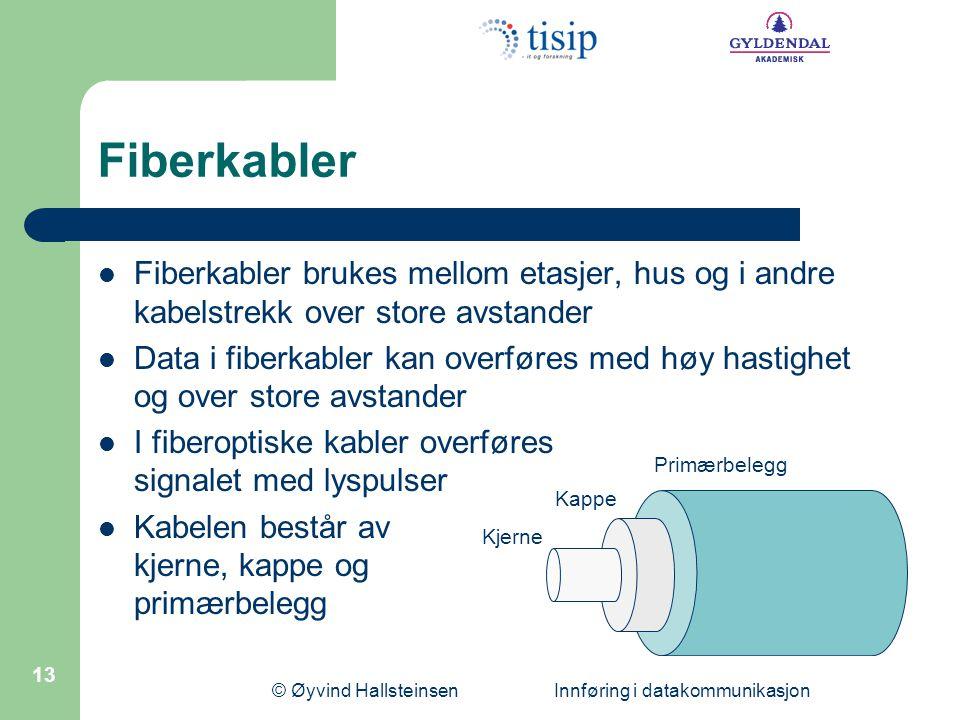 © Øyvind Hallsteinsen Innføring i datakommunikasjon 13 Fiberkabler  Fiberkabler brukes mellom etasjer, hus og i andre kabelstrekk over store avstande